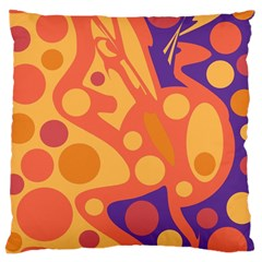 Orange and blue decor Large Cushion Case (Two Sides)