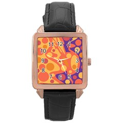 Orange and blue decor Rose Gold Leather Watch
