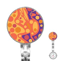 Orange And Blue Decor Stainless Steel Nurses Watch