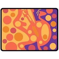 Orange and blue decor Double Sided Fleece Blanket (Large)