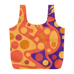 Orange and blue decor Full Print Recycle Bags (L)