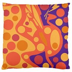 Orange and blue decor Large Flano Cushion Case (Two Sides)