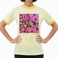Purple and green decor Women s Fitted Ringer T-Shirts