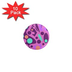 Purple and green decor 1  Mini Magnet (10 pack)