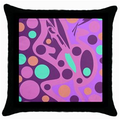 Purple and green decor Throw Pillow Case (Black)