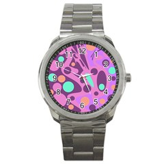 Purple and green decor Sport Metal Watch