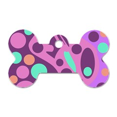 Purple and green decor Dog Tag Bone (Two Sides)
