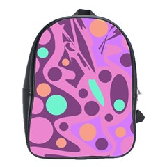 Purple and green decor School Bags(Large)