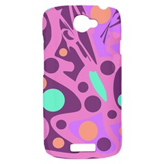 Purple and green decor HTC One S Hardshell Case