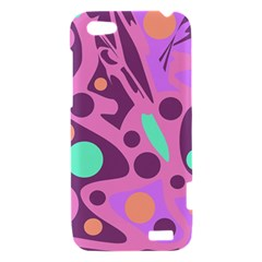 Purple and green decor HTC One V Hardshell Case