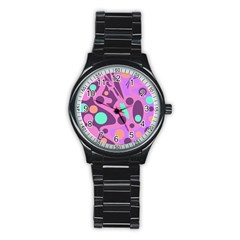 Purple and green decor Stainless Steel Round Watch