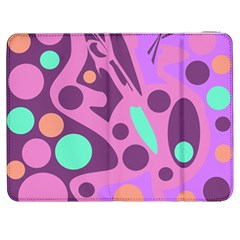 Purple and green decor Samsung Galaxy Tab 7  P1000 Flip Case