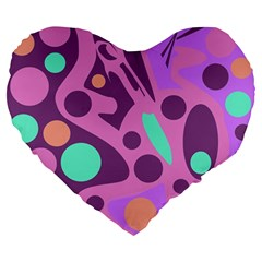 Purple and green decor Large 19  Premium Flano Heart Shape Cushions