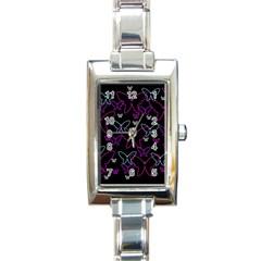 Purple butterflies pattern Rectangle Italian Charm Watch