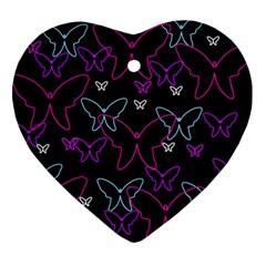 Purple butterflies pattern Ornament (Heart)