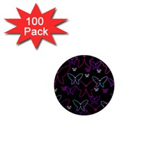 Purple butterflies pattern 1  Mini Magnets (100 pack)