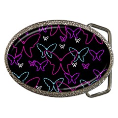Purple butterflies pattern Belt Buckles