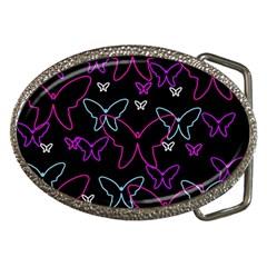 Purple butterflies pattern Belt Buckles