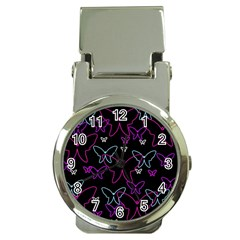 Purple butterflies pattern Money Clip Watches
