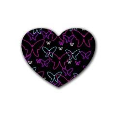 Purple butterflies pattern Heart Coaster (4 pack)