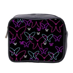 Purple butterflies pattern Mini Toiletries Bag 2-Side