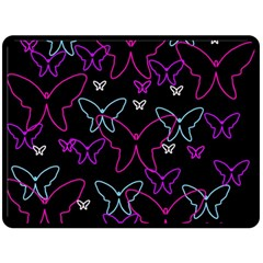 Purple butterflies pattern Fleece Blanket (Large)