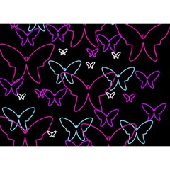 Purple butterflies pattern Birthday Cake 3D Greeting Card (7x5)