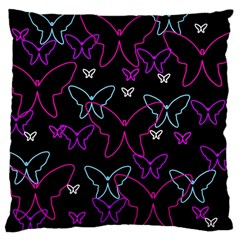 Purple butterflies pattern Large Cushion Case (Two Sides)
