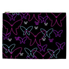 Purple butterflies pattern Cosmetic Bag (XXL)