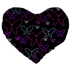 Purple butterflies pattern Large 19  Premium Heart Shape Cushions