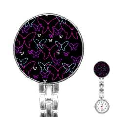 Purple Butterflies Pattern Stainless Steel Nurses Watch