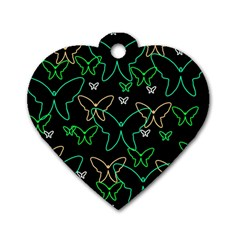 Green butterflies Dog Tag Heart (Two Sides)