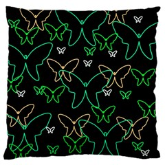 Green butterflies Large Cushion Case (Two Sides)