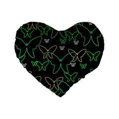 Green butterflies Standard 16  Premium Heart Shape Cushions