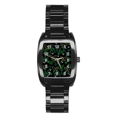 Green Butterflies Stainless Steel Barrel Watch