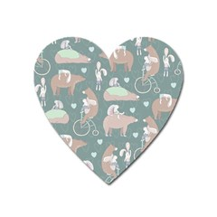 Bear Ruding Unicycle Unique Pop Art All Over Print Heart Magnet