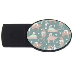 Bear Ruding Unicycle Unique Pop Art All Over Print USB Flash Drive Oval (2 GB)