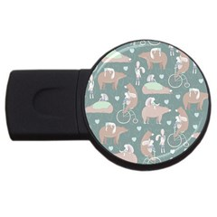 Bear Ruding Unicycle Unique Pop Art All Over Print USB Flash Drive Round (4 GB)