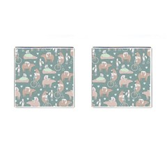 Bear Ruding Unicycle Unique Pop Art All Over Print Cufflinks (Square)