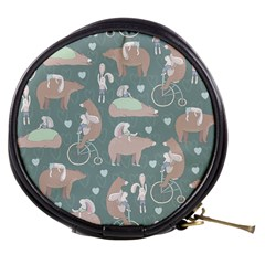 Bear Ruding Unicycle Unique Pop Art All Over Print Mini Makeup Bags