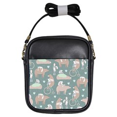 Bear Ruding Unicycle Unique Pop Art All Over Print Girls Sling Bags