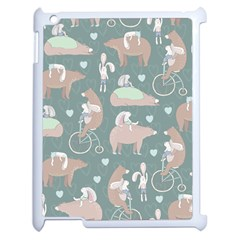 Bear Ruding Unicycle Unique Pop Art All Over Print Apple iPad 2 Case (White)