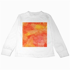 Watercolor Yellow Fall Autumn Real Paint Texture Artists Kids Long Sleeve T-Shirts