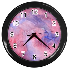 Galaxy Cotton Candy Pink And Blue Watercolor  Wall Clocks (Black)