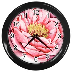 Large Flower Floral Pink Girly Graphic Wall Clocks (Black)