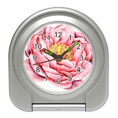 Large Flower Floral Pink Girly Graphic Travel Alarm Clocks