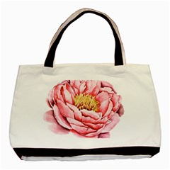 Large Flower Floral Pink Girly Graphic Basic Tote Bag (Two Sides)