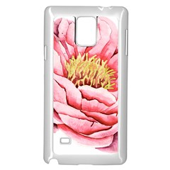 Large Flower Floral Pink Girly Graphic Samsung Galaxy Note 4 Case (White)