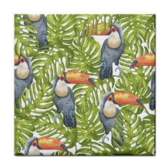 Tropical Print Leaves Birds Toucans Toucan Large Print Tile Coasters