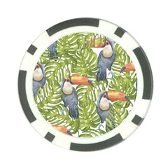 Tropical Print Leaves Birds Toucans Toucan Large Print Poker Chip Card Guards (10 Pack)
